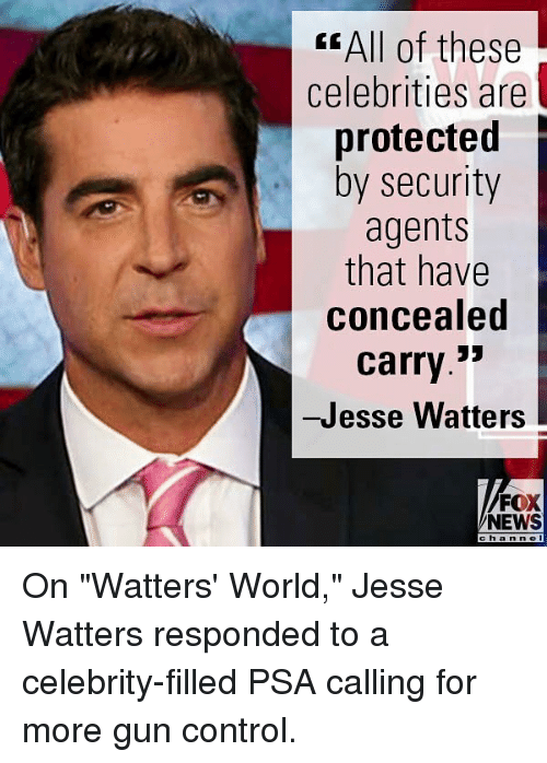 """Memes, News, and Control: < All of these  celebrities are  protected  by security  agents  that have  concealed  carry.3'  -Jesse Watters  FOX  NEWS  chan n e On """"Watters' World,"""" Jesse Watters responded to a celebrity-filled PSA calling for more gun control."""