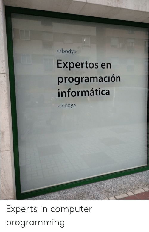 Computer, Programming, and Informatica: </body>  Expertos en  programación  informática  <body> Experts in computer programming