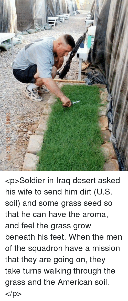 aroma: <p>Soldier in Iraq desert asked his wife to send him dirt (U.S. soil) and some grass seed so that he can have the aroma, and feel the grass grow beneath his feet. When the men of the squadron have a mission that they are going on, they take turns walking through the grass and the American soil.</p>