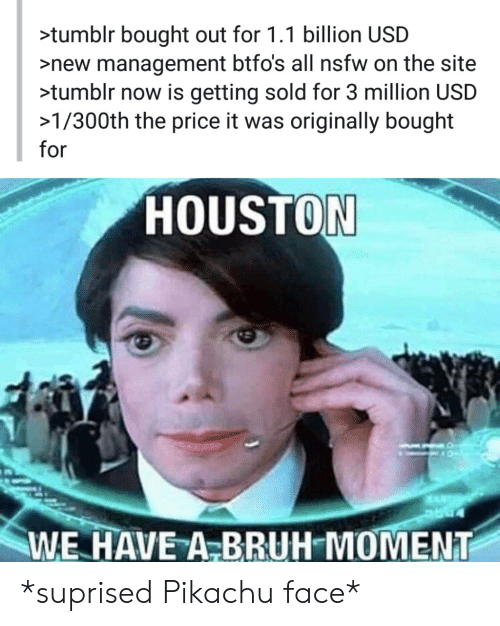 Bruh, Nsfw, and Pikachu: >tumblr bought out for 1.1 billion USD  >new management btfo's all nsfw on the site  >tumblr now is getting sold for 3 million USD  >1/300th the price it was originally bought  for  HOUSTON  WE HAVE A-BRUH MOMENT *suprised Pikachu face*