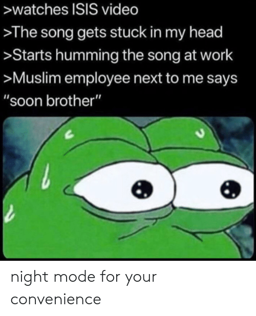 "Head, Isis, and Muslim: >watches ISIS video  >The song gets stuck in my head  >Starts humming the song at work  >Muslim employee next to me says  ""soon brother"" night mode for your convenience"