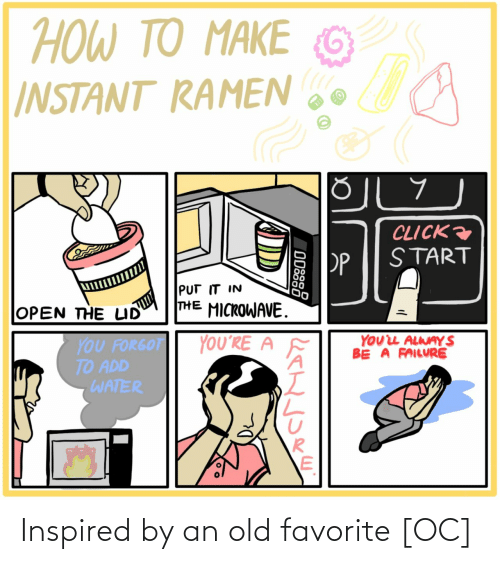 microwave: ΤΟ ΑΚΕ  TO MAKE  HOW TO  G  INSTANT RAMEN  CLICK  START  PP  PUT IT IN  THE MICROWAVE.  OPEN THE LID  YOUL ALWAY S  BE A FAILURE  YOU'RE A  YOU FORGOT  TO ADD  WATER  ODSS8 Inspired by an old favorite [OC]