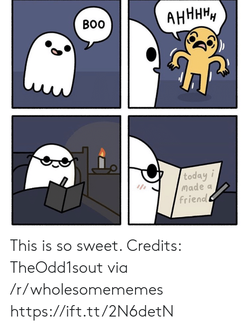 I Made A: АНННН,  Во  today i  Made a  friend This is so sweet. Credits: TheOdd1sout via /r/wholesomememes https://ift.tt/2N6detN