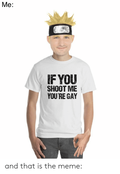 Meme, Reddit, and Gay: Ме:  IF YOU  SHOOT ME  YOU'RE GAY and that is the meme: