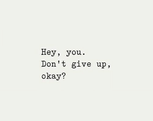 dont give up: Неу, you.  Don't give up,  okay?