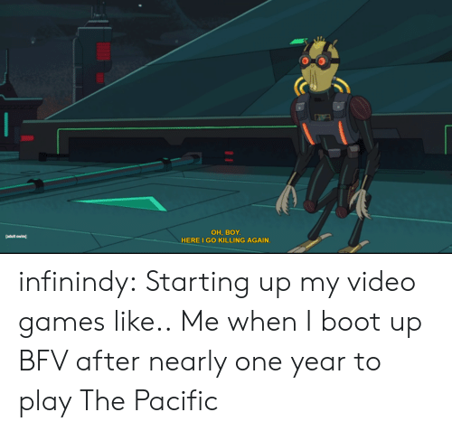 boot: ОН, BOY.  HERE I GO KILLING AGAIN.  [adult swim infinindy:  Starting up my video games like..  Me when I boot up BFV after nearly one year to play The Pacific
