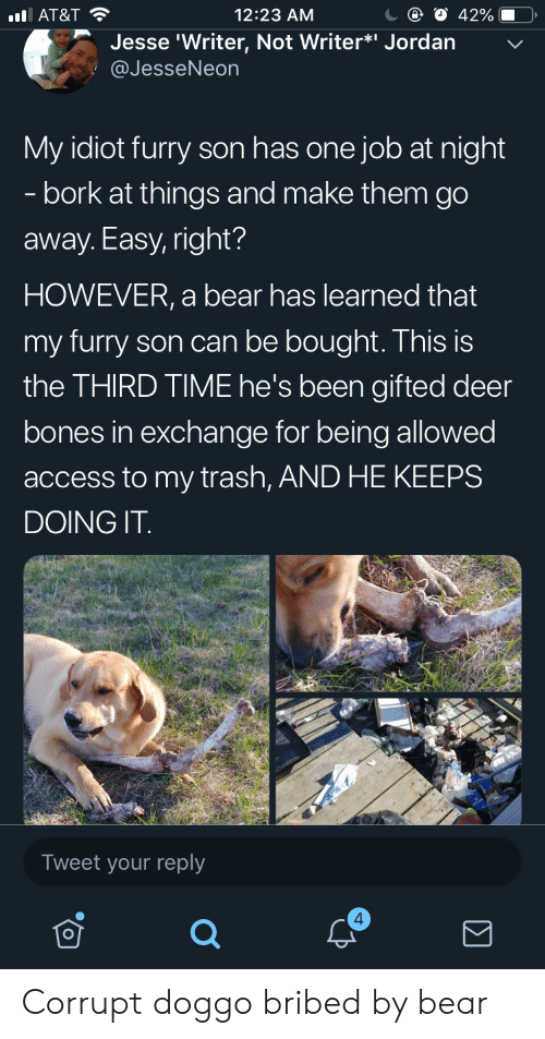 Corrupt: С @ О 42%-O,  12:23 AM  l AT&T  Jesse 'Writer, Not Writer*i Jordan  @JesseNeon  My idiot furry son has one job at night  - bork at things and make them go  away. Easy, right?  HOWEVER, a bear has learned that  my furry son can be bought. This is  the THIRD TIME he's been gifted deer  bones in exchange for being allowed  access to my trash, AND HE KEEPS  DOING IT  Tweet your reply  4 Corrupt doggo bribed by bear
