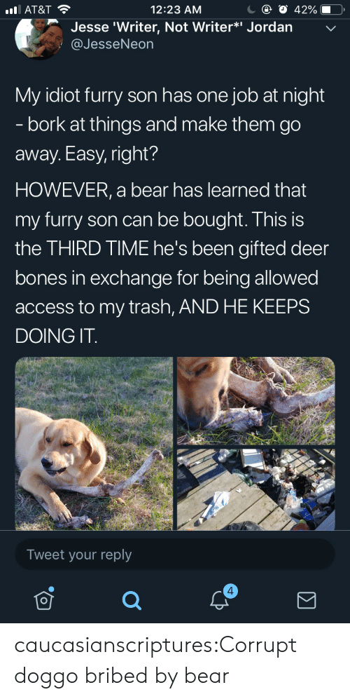 Corrupt: С @ О 42%-O,  12:23 AM  l AT&T  Jesse 'Writer, Not Writer*i Jordan  @JesseNeon  My idiot furry son has one job at night  - bork at things and make them go  away. Easy, right?  HOWEVER, a bear has learned that  my furry son can be bought. This is  the THIRD TIME he's been gifted deer  bones in exchange for being allowed  access to my trash, AND HE KEEPS  DOING IT  Tweet your reply  4 caucasianscriptures:Corrupt doggo bribed by bear