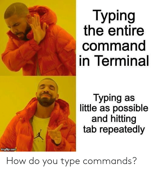 tab: Тyping  the entire  command  in Terminal  Typing as  little as possible  and hitting  tab repeatedly  imgflip.com How do you type commands?