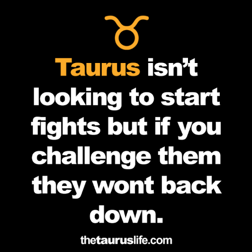Taurus, Back, and Looking: าร์  Taurus isn't  looking to start  fights but if you  challenge them  they wont back  down.  thetauruslife.com
