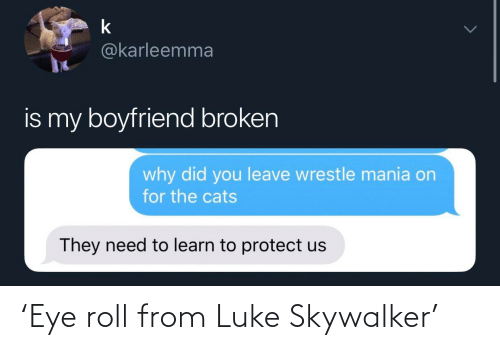 eye: 'Eye roll from Luke Skywalker'