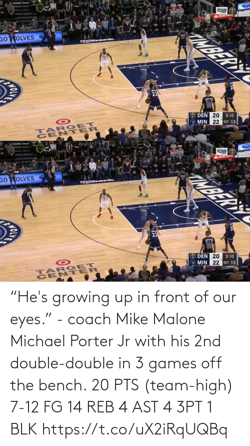 "Off: ""He's growing up in front of our eyes."" - coach Mike Malone  Michael Porter Jr with his 2nd double-double in 3 games off the bench.  20 PTS (team-high) 7-12 FG  14 REB 4 AST 4 3PT 1 BLK   https://t.co/uX2iRqUQBq"