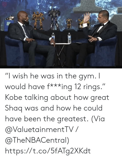 "Shaq: ""I wish he was in the gym. I would have f***ing 12 rings.""   Kobe talking about how great Shaq was and how he could have been the greatest.    (Via @ValuetainmentTV / @TheNBACentral)   https://t.co/5fATg2XKdt"
