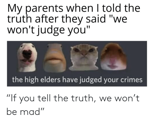 """Truth: """"If you tell the truth, we won't be mad"""""""