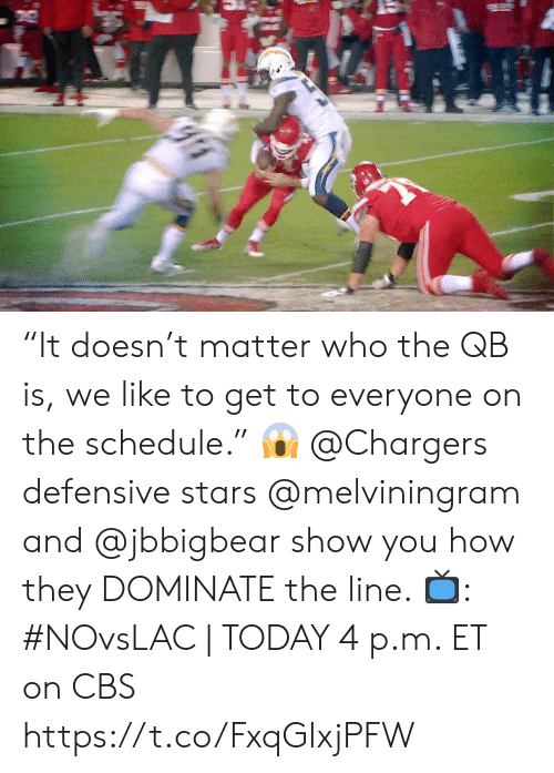 """Memes, Cbs, and Chargers: """"It doesn't matter who the QB is, we like to get to everyone on the schedule."""" 😱  @Chargers defensive stars @melviningram and @jbbigbear show you how they DOMINATE the line.   📺: #NOvsLAC 