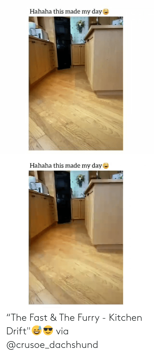 "fast: ""The Fast & The Furry - Kitchen Drift""😅😎 via @crusoe_dachshund"