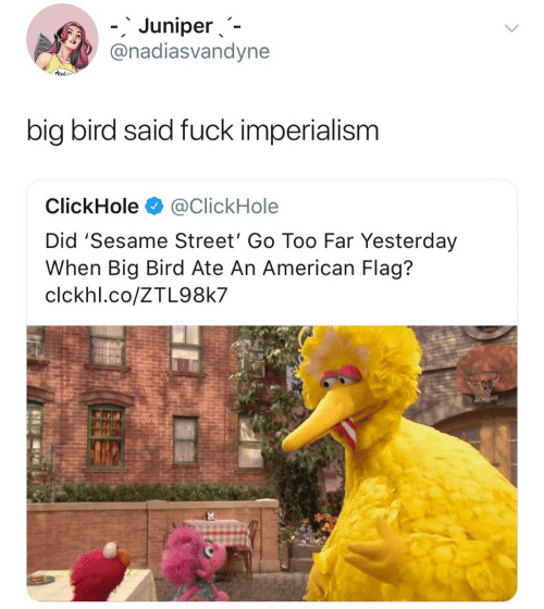 American Flag: 、  '  -.Juniper、-  @nadiasvandyne  big bird said fuck imperialism  ClickHole@ClickHole  Did 'Sesame Street' Go Too Far Yesterday  When Big Bird Ate An American Flag?  clckhl.co/ZTL98k7
