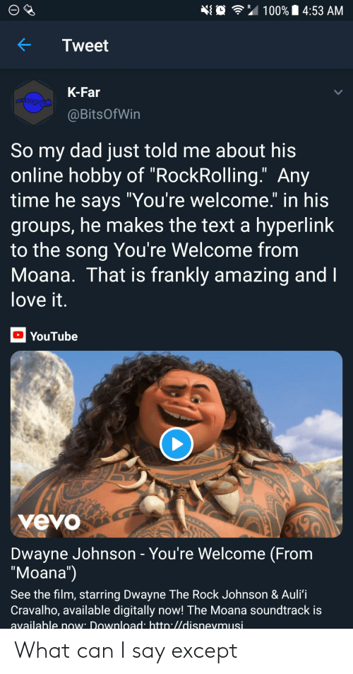 "Dwayne Johnson: 埀令"" 100% 14:53 AM  KTweet  K-Far  @BitsOfWin  So my dad just told me about his  online hobby of ""RockRolling."" Any  time he savs ""You're welcome."" in his  groups, he makes the text a hyperlink  to the song You're Welcome from  Moana. That is frankly amazing and  love it  YouTube  yevo  Dwayne Johnson - You're Welcome (From  ""Moana"")  See the film, starring Dwayne The Rock Johnson & Auli'i  Cravalho, available digitally now! The Moana soundtrack is  available now Download htto.//disnevmusi What can I say except"