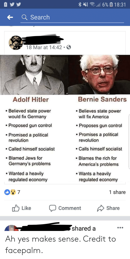 America, Bernie Sanders, and Facepalm: 嵶亨  il 6% 0.1 8:31  Search  18 Mar at 14:42 .。  Bernie Sanders  Adolf Hitler  Believed state power  Believes state power  would fix Germany  Proposed gun control  Promised a political  will fix America  Proposes gun control  Promises a political  revolution  revolution  .Calls himself socialist  .Called himself socialist  Blamed Jews for  Germany's problems  Blames the rich for  America's problems  Wants a heavily  regulated economy  Wanted a heavily  regulated economy  1 share  Like  Share  Comment  shared a Ah yes makes sense. Credit to facepalm.