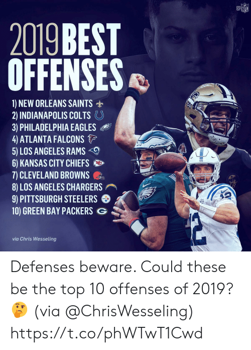 Indianapolis Colts: @竈  NF  2019 BEST  OFFENSES  1) NEW ORLEANS SAINTS  2) INDIANAPOLIS COLTS。  3) PHILADELPHIA EAGLES  4 ATLANTA FALCONS  5) LOS ANGELES RAMS  6) KANSAS CITY CHIEFS  7) CLEVELAND BROWNS  8) LOS ANGELES CHARGERS  9) PITTSBURGH STEELERS  10) GREEN BAY PACKERS G  via Chris Wesseling Defenses beware. Could these be the top 10 offenses of 2019? 🤔 (via @ChrisWesseling) https://t.co/phWTwT1Cwd