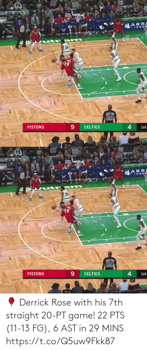Derrick Rose: 🌹 Derrick Rose with his 7th straight 20-PT game!   22 PTS (11-13 FG), 6 AST in 29 MINS   https://t.co/Q5uw9Fkk87