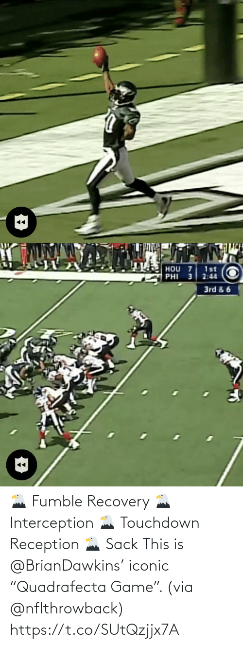 "Iconic: 🦅 Fumble Recovery 🦅 Interception 🦅 Touchdown Reception 🦅 Sack  This is @BrianDawkins' iconic ""Quadrafecta Game"". (via @nflthrowback) https://t.co/SUtQzjjx7A"