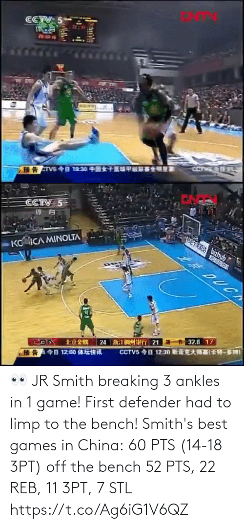 reb: 👀 JR Smith breaking 3 ankles in 1 game! First defender had to limp to the bench!   Smith's best games in China: 60 PTS (14-18 3PT) off the bench 52 PTS, 22 REB, 11 3PT, 7 STL https://t.co/Ag6iG1V6QZ