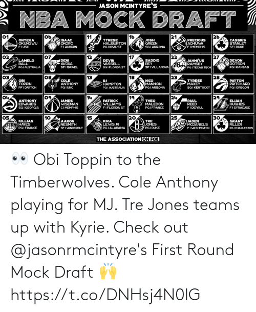 playing: 👀 Obi Toppin to the Timberwolves. Cole Anthony playing for MJ. Tre Jones teams up with Kyrie. Check out @jasonrmcintyre's First Round Mock Draft 🙌 https://t.co/DNHsj4N0lG