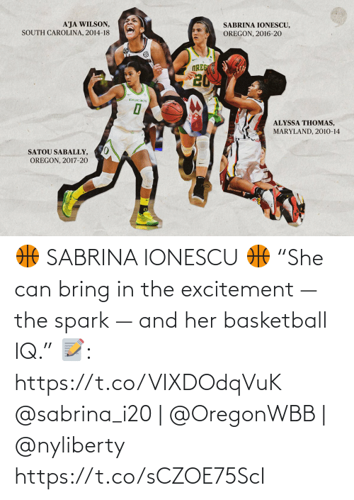"""excitement: 🏀 SABRINA IONESCU 🏀  """"She can bring in the excitement — the spark — and her basketball IQ.""""  📝: https://t.co/VIXDOdqVuK  @sabrina_i20 