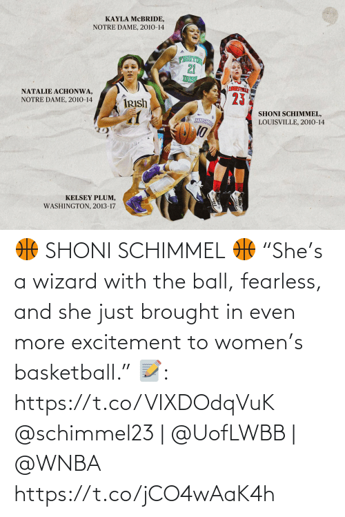 """excitement: 🏀 SHONI SCHIMMEL 🏀  """"She's a wizard with the ball, fearless, and she just brought in even more excitement to women's basketball.""""  📝: https://t.co/VIXDOdqVuK  @schimmel23 