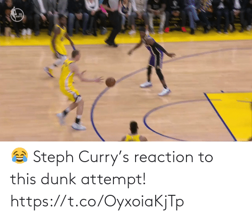 Steph: 😂 Steph Curry's reaction to this dunk attempt!  https://t.co/OyxoiaKjTp