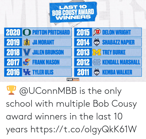 bob: 🏆 @UConnMBB is the only school with multiple Bob Cousy award winners in the last 10 years https://t.co/olgyQkK61W