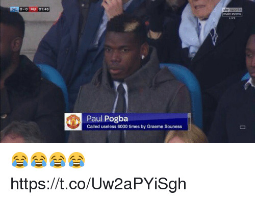 paul pogba: 0-0 MU 01:46  main event  Paul Pogba  Called useless 6000 times by Graeme Souness 😂😂😂😂 https://t.co/Uw2aPYiSgh