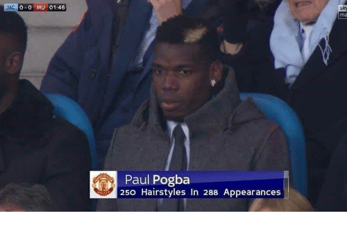 paul pogba: 0-0 MU 01:46  Paul Pogba  250 Hairstyles In 288 Appearances
