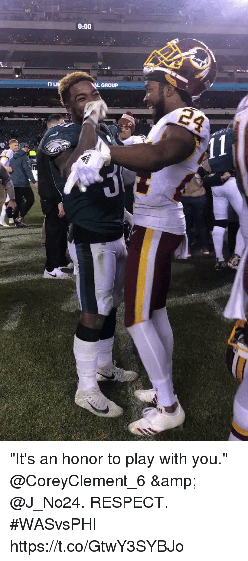 """Memes, Respect, and 🤖: 0:00  L GROUP """"It's an honor to play with you.""""  @CoreyClement_6 & @J_No24. RESPECT. #WASvsPHI https://t.co/GtwY3SYBJo"""