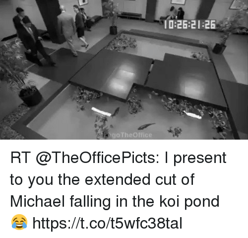 Memes, Michael, and 🤖: 0:26:21 26 RT @TheOfficePicts: I present to you the extended cut of Michael falling in the koi pond 😂 https://t.co/t5wfc38tal