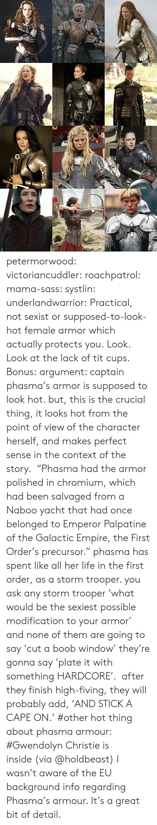 "Yacht: 0-o  O0-o petermorwood:  victoriancuddler:  roachpatrol:  mama-sass:  systlin:  underlandwarrior:  Practical, not sexist or supposed-to-look-hot female armor which actually protects you.  Look.  Look at the lack of tit cups.   Bonus:  argument: captain phasma's armor is supposed to look hot. but, this is the crucial thing, it looks hot from the point of view of the character herself, and makes perfect sense in the context of the story.  ""Phasma had the armor polished in chromium, which had been salvaged from a Naboo yacht that had once belonged to Emperor Palpatine of the Galactic Empire, the First Order's precursor."" phasma has spent like all her life in the first order, as a storm trooper. you ask any storm trooper 'what would be the sexiest possible modification to your armor' and none of them are going to say 'cut a boob window' they're gonna say 'plate it with something HARDCORE'.  after they finish high-fiving, they will probably add, 'AND STICK A CAPE ON.'    #other hot thing about phasma armour: #Gwendolyn Christie is inside (via @holdbeast)  I wasn't aware of the EU background info regarding Phasma's armour. It's a great bit of detail."