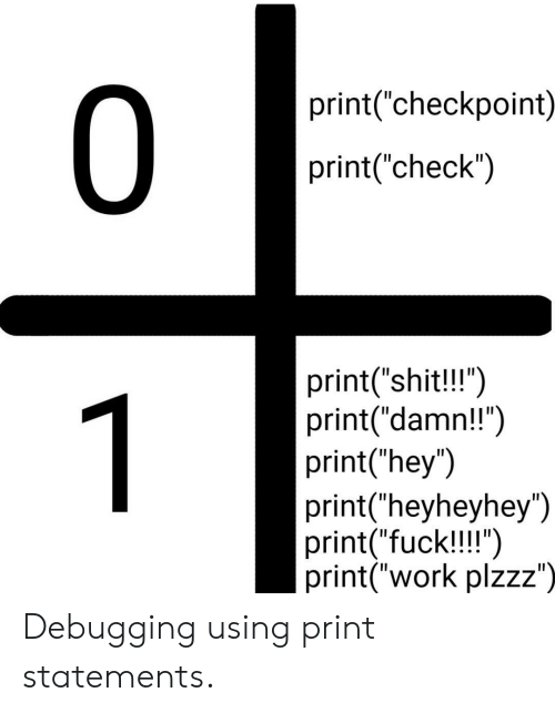 """Shit, Work, and Fuck: 0  print(""""checkpoint)  print(""""check"""")  print(""""shit!!"""")  print(""""damn!!"""")  print(""""hey"""")  print(""""heyheyhey"""")  print(""""fuck!!!"""")  print(""""work plzzz"""")  1 Debugging using print statements."""