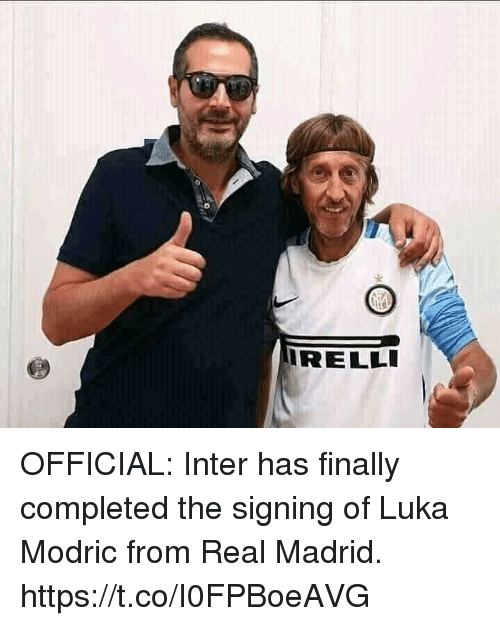 Memes, Real Madrid, and 🤖: 0  RELLI OFFICIAL: Inter has finally completed the signing of Luka Modric from Real Madrid. https://t.co/I0FPBoeAVG