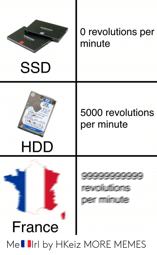 Dank, Memes, and Target: 0 revolutions per  minute  SSD  5000 revolutions  per minute  HDD  per minute  France Me🇫🇷Irl by HKeiz MORE MEMES
