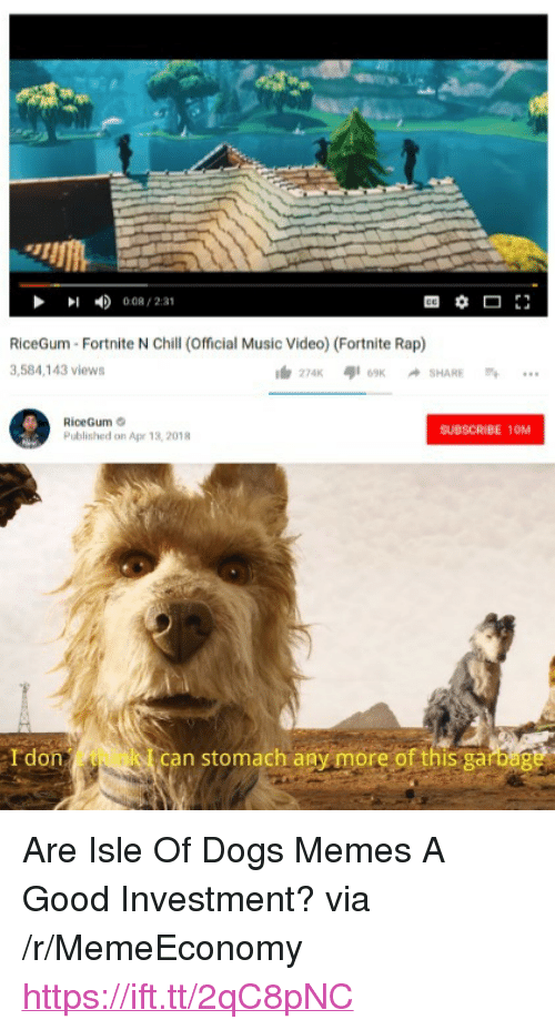 """Memes A: 008/231  RiceGum Fortnite N Chill (Official Music Video) (Fortnite Rap)  3,584,143 views  RiceGum  Published on Apr 13, 2018  SUBSCRIBE 10M  Idon  can stomach any more of this garbag <p>Are Isle Of Dogs Memes A Good Investment? via /r/MemeEconomy <a href=""""https://ift.tt/2qC8pNC"""">https://ift.tt/2qC8pNC</a></p>"""