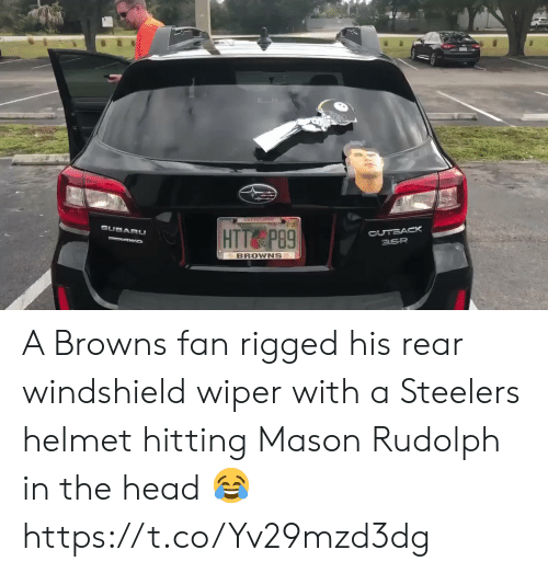 Football, Head, and Nfl: 01-21  SUBARU  OUTBACK  3.6R  HTT P89  VAWD  BROWNS A Browns fan rigged his rear windshield wiper with a Steelers helmet hitting Mason Rudolph in the head 😂 https://t.co/Yv29mzd3dg