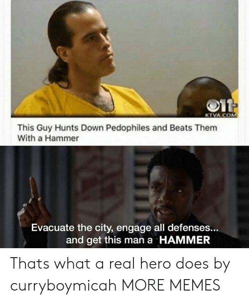 Dank, Memes, and Target: 011  KTVA.COM  This Guy Hunts Down Pedophiles and  With a Hammer  Evacuate the city, engage all defenses...  and get this man a HAMMER Thats what a real hero does by curryboymicah MORE MEMES