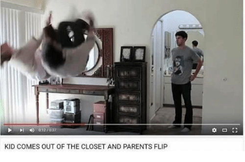 out of the closet: 012/  KID COMES OUT OF THE CLOSET AND PARENTS FLIP