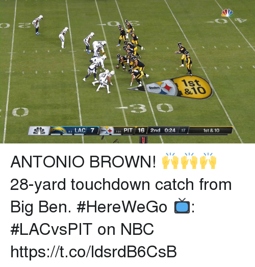 Memes, Steelers, and Antonio Brown: 03  1st  &10  Steelers  LAC 7  731 PIT 16 2nd 0:24 17  1st & 10  8-3 ANTONIO BROWN! 🙌🙌🙌  28-yard touchdown catch from Big Ben. #HereWeGo  📺: #LACvsPIT on NBC https://t.co/ldsrdB6CsB