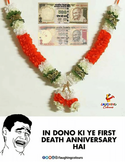 Gooo, Death, and Indianpeoplefacebook: 07057  LAUGHING  otens  IN DONO KI YE FIRST  DEATH ANNIVERSARY  HAI  GOOO®/laughingcolours