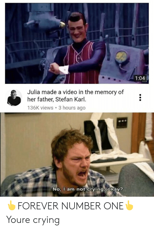 Crying, Reddit, and Video: 1:04  Julia made a video in the memory of  her father, Stefan Karl  136K views 3 hours ago  No, I am not crving okav? 👆FOREVER NUMBER ONE👆Youre crying