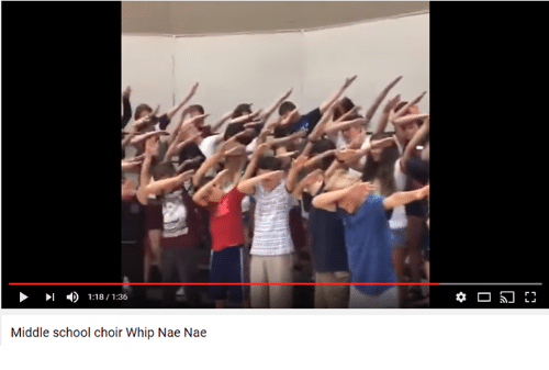 nae nae: 1:18 1:36  Middle school choir Whip Nae Nae  F1