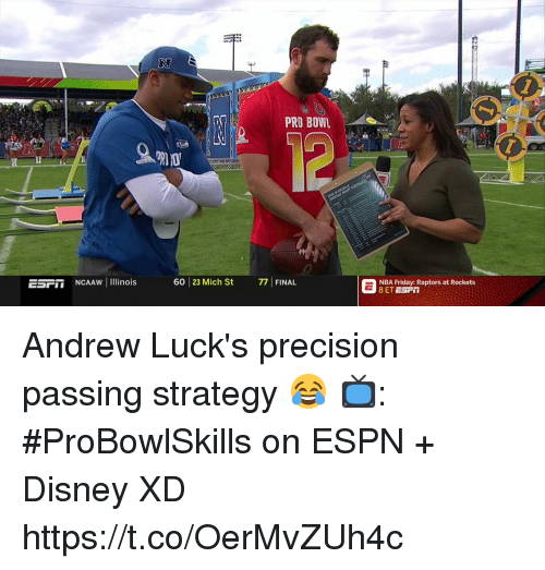 Disney, Espn, and Friday: 1  2  PRO BOWL  ESFIT NCAAW Il inois  60 23 Mich St 7FINAL  NBA Friday: Raptors at Rockets Andrew Luck's precision passing strategy 😂  📺: #ProBowlSkills on ESPN + Disney XD https://t.co/OerMvZUh4c