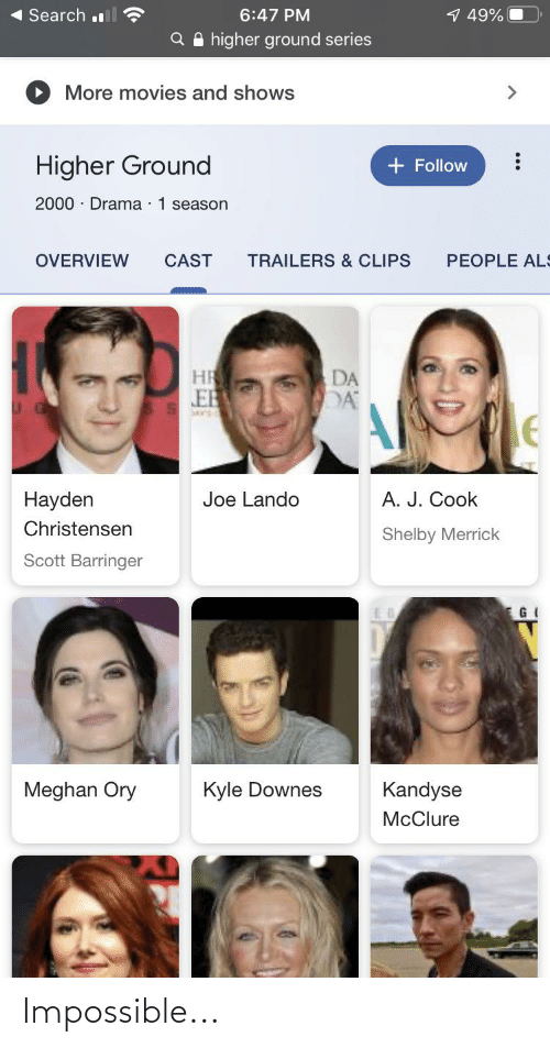 als: 1 49%  Search l  6:47 PM  Q A higher ground series  More movies and shows  <>  Higher Ground  + Follow  2000 · Drama · 1 season  OVERVIEW  CAST  TRAILERS & CLIPS  PEOPLE ALS  DA  EB  A. J. Cook  Hayden  Joe Lando  Christensen  Shelby Merrick  Scott Barringer  Meghan Ory  Kyle Downes  Kandyse  McClure Impossible...